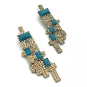 "Gold Diamante Turquiose Geometric ""Tetris"" Earring"
